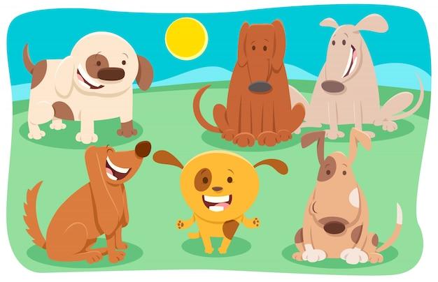 Bande dessinée illustration du groupe de chiens et chiots