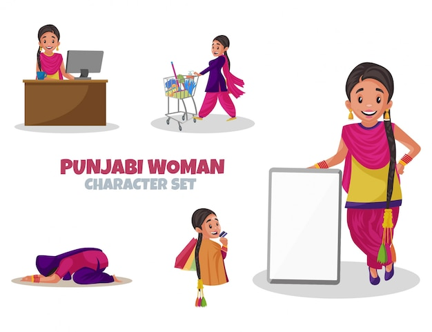 Bande dessinée illustration du jeu de caractères femme punjabi