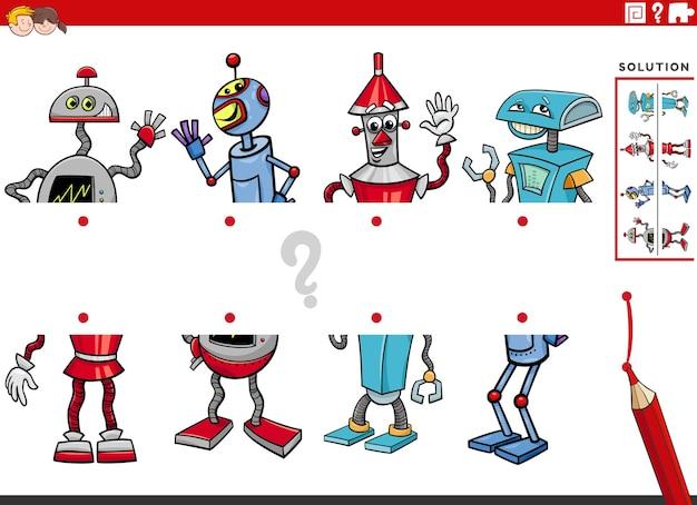 Bande dessinée illustration du jeu éducatif des moitiés correspondantes des robots