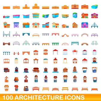 Bande dessinée illustration du jeu d'icônes d'architecture isolé sur fond blanc