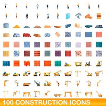 Bande dessinée illustration du jeu d'icônes de construction isolé sur blanc