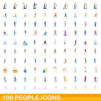 Bande dessinée illustration du jeu d'icônes de personnes isolé sur blanc