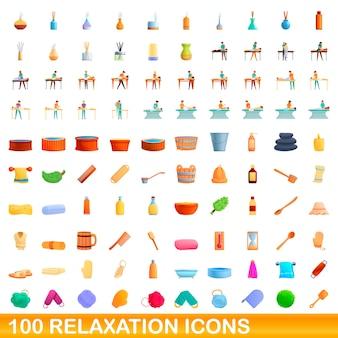 Bande dessinée illustration du jeu d'icônes de relaxation isolé sur fond blanc