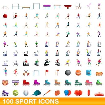 Bande dessinée illustration du jeu d'icônes de sport isolé sur blanc
