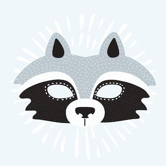Bande dessinée illustration du masque drôle du raton laveur