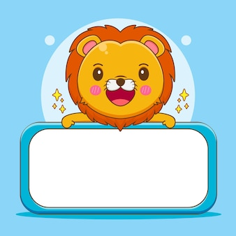 Bande dessinée illustration du personnage de lion mignon avec panneau d'affichage