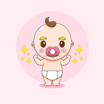 Bande dessinée illustration du personnage mignon bébé garçon fort
