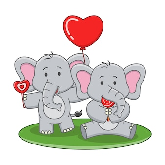 Bande dessinée illustration d'éléphant mignon mangeant une sucette