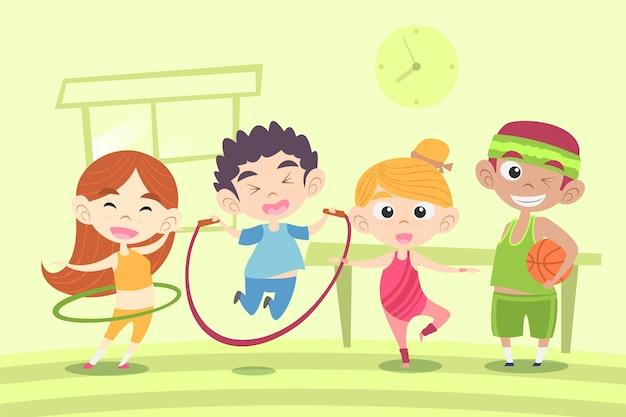 Bande dessinée illustration d'enfants en classe d'éducation physique