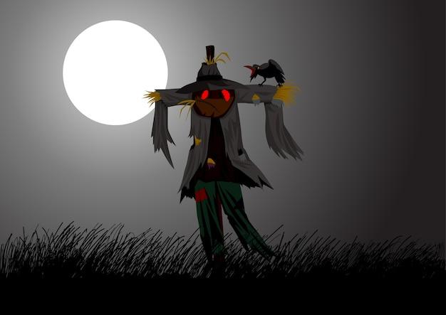 Bande dessinée illustration d'un épouvantail sur le terrain pendant la pleine lune