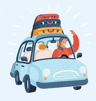 Bande dessinée illustration d'une femme conduisant une voiture avec valise de malles à bagages sur le dessus