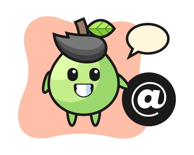 Bande dessinée illustration de goyave debout à côté du symbole at, style mignon pour t-shirt, autocollant, élément de logo