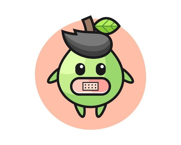 Bande dessinée illustration de goyave avec du ruban adhésif sur la bouche, style mignon pour t-shirt, autocollant, élément de logo
