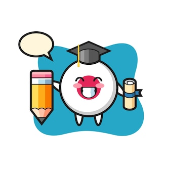 La bande dessinée d'illustration d'insigne de drapeau du japon est l'obtention du diplôme avec un crayon géant