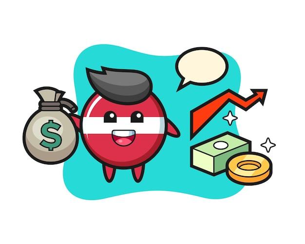 Bande dessinée d'illustration d'insigne de drapeau de la lettonie tenant le sac d'argent, conception mignonne de style pour le t-shirt, autocollant, élément de logo