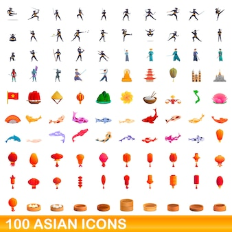 Bande dessinée illustration de jeu d'icônes asiatiques isolé sur blanc