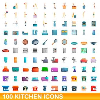 Bande dessinée illustration de jeu d'icônes de cuisine isolé sur blanc