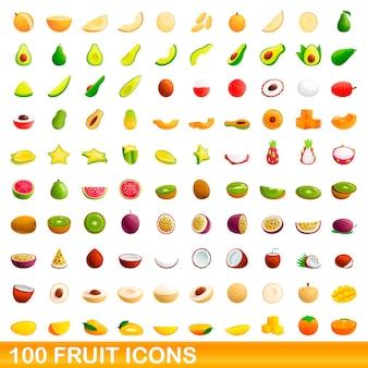 Bande dessinée illustration de jeu d'icônes de fruits isolé sur fond blanc