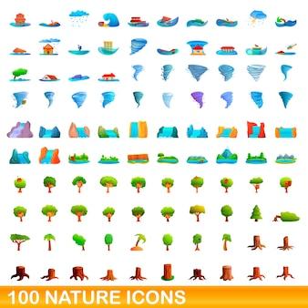 Bande dessinée illustration de jeu d'icônes de la nature isolé sur blanc