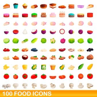 Bande dessinée illustration de jeu d'icônes de nourriture isolé sur blanc