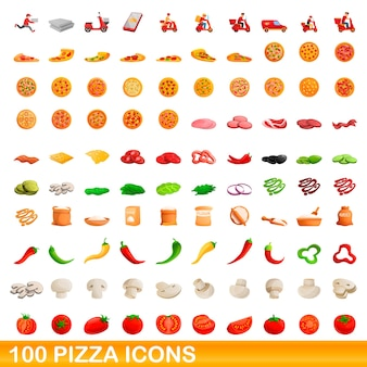 Bande dessinée illustration de jeu d'icônes de pizza isolé sur blanc
