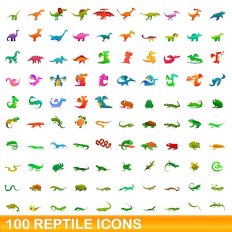 Bande dessinée illustration de jeu d'icônes de reptiles isolé sur blanc