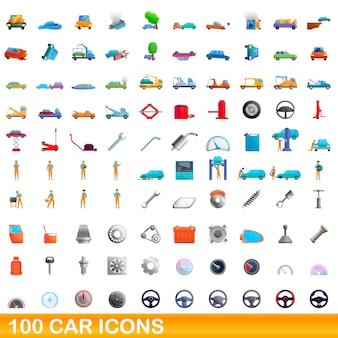 Bande dessinée illustration de jeu d'icônes de voiture isolé sur blanc