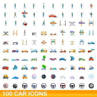 Bande dessinée illustration de jeu d'icônes de voiture isolé sur fond blanc