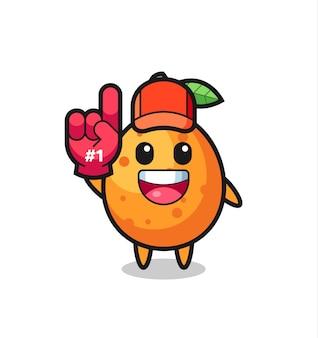 Bande dessinée illustration kumquat avec gant de fans numéro 1, design de style mignon pour t-shirt, autocollant, élément de logo