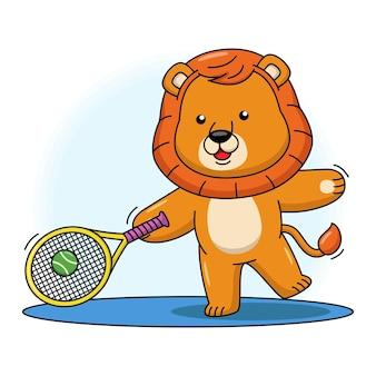 Bande dessinée illustration de lion mignon jouant au tennis