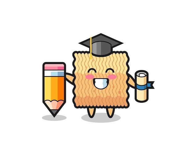 La bande dessinée d'illustration de nouilles instantanées brutes est l'obtention du diplôme avec un crayon géant, un design de style mignon pour un t-shirt, un autocollant, un élément de logo