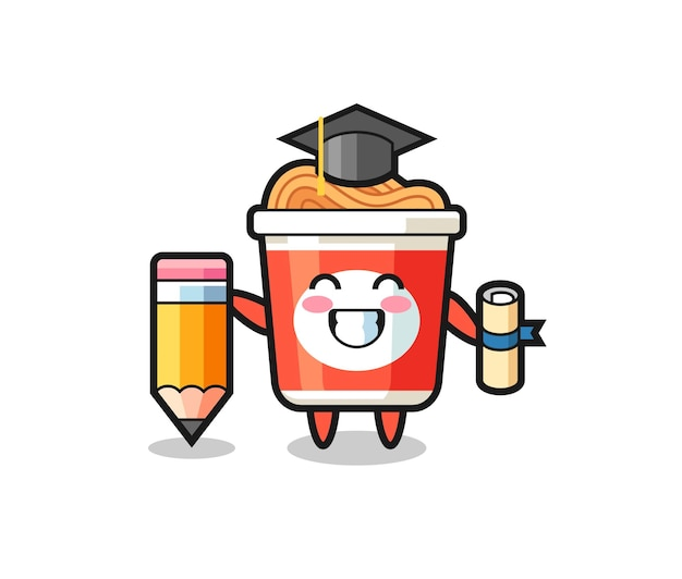 La bande dessinée d'illustration de nouilles instantanées est l'obtention du diplôme avec un crayon géant, un design de style mignon pour un t-shirt, un autocollant, un élément de logo