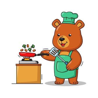 Bande dessinée illustration d'ours mignon de cuisine