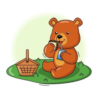 Bande dessinée illustration d'ours mignon mangeant un sandwich