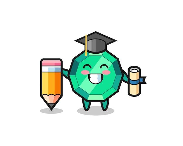 La bande dessinée d'illustration de pierres précieuses émeraude est l'obtention du diplôme avec un crayon géant, un design de style mignon pour un t-shirt, un autocollant, un élément de logo