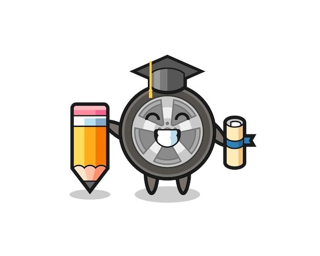 La bande dessinée d'illustration de roue de voiture est l'obtention du diplôme avec un crayon géant, un design de style mignon pour un t-shirt, un autocollant, un élément de logo