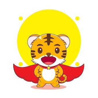 Bande dessinée illustration de super-héros tigre mignon avec cape rouge