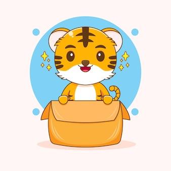 Bande dessinée illustration de tigre mignon jouant à l'intérieur de la boîte