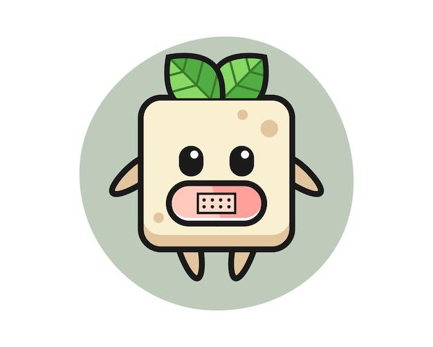 Bande dessinée illustration de tofu avec du ruban adhésif sur la bouche, conception de style mignon pour t-shirt