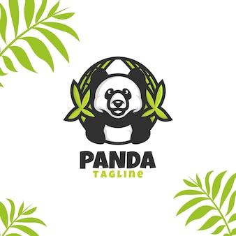 Bande dessinée de logo de panda avec le bambou de cercle