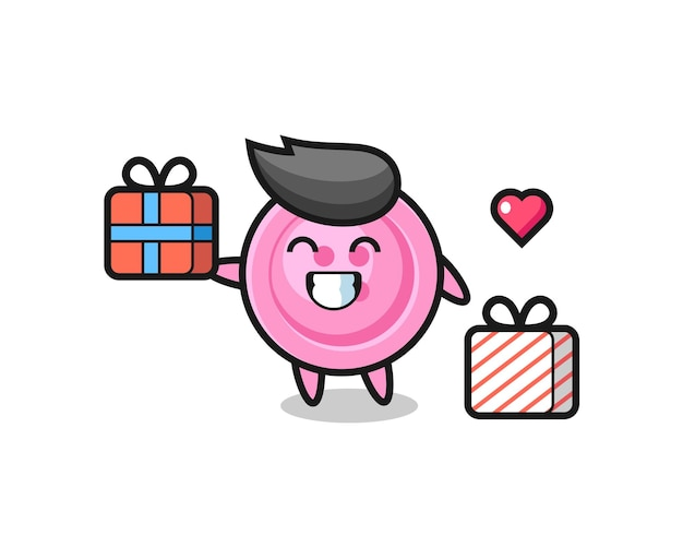 Bande dessinée de mascotte de bouton d'habillement donnant le cadeau, conception mignonne