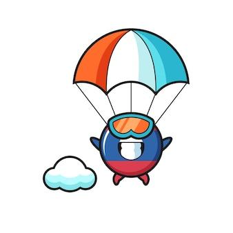 La bande dessinée de mascotte d'insigne de drapeau du laos saute en parachute avec un geste heureux, un design mignon