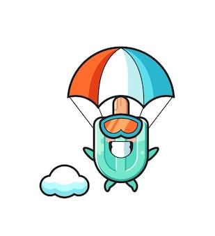La bande dessinée de mascotte de sucettes glacées saute en parachute avec un geste heureux, un design mignon