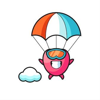 La bande dessinée de mascotte de symbole de coeur saute en parachute avec un geste heureux, un design de style mignon pour un t-shirt, un autocollant, un élément de logo