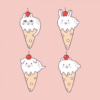 Bande dessinée mignonne animaux crème glacée