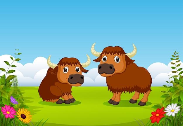 Bande dessinée mignonne de bison avec des paysages de la nature