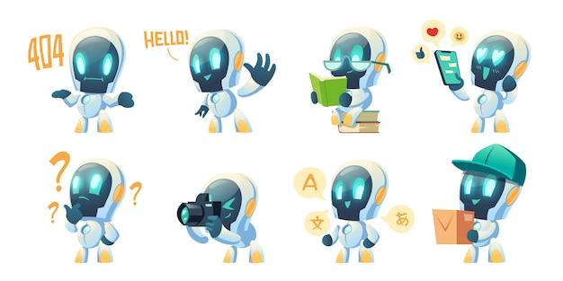 Bande dessinée mignonne de bot de chat, robot de conversation