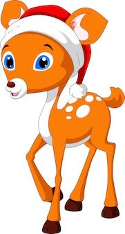 Bande dessinée mignonne de cerf avec un chapeau rouge de noël