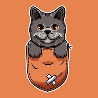 Bande dessinée mignonne de chat de compagnie qui sort de la poche de la pochette