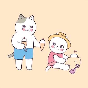 Bande dessinée mignonne de chats d'été